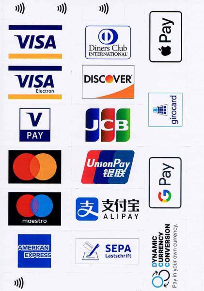 Kreditkarten / Bankkarten Aufkleber (Visa, JCB, Apple Pay, ...)