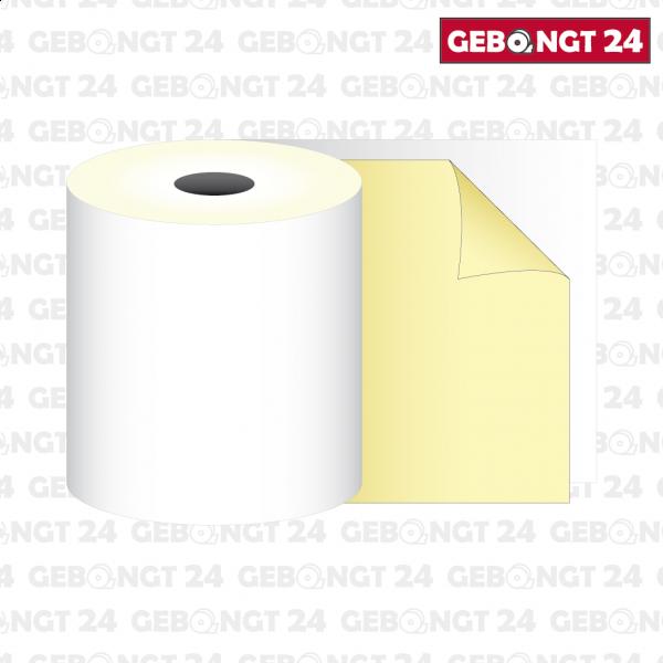 Kassenolle 76 x 25m x 12 - 2-fach gewickelt, weiß/gelb