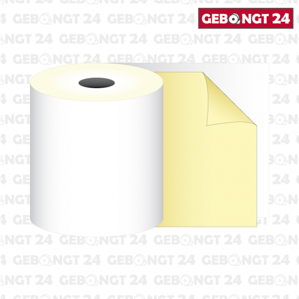 Kassenolle 57 x 20m x 12 - 2-fach gewickelt, weiß/gelb