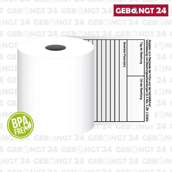 Thermorolle 80x80 mit Bewirtung - Kästchen - BPA frei