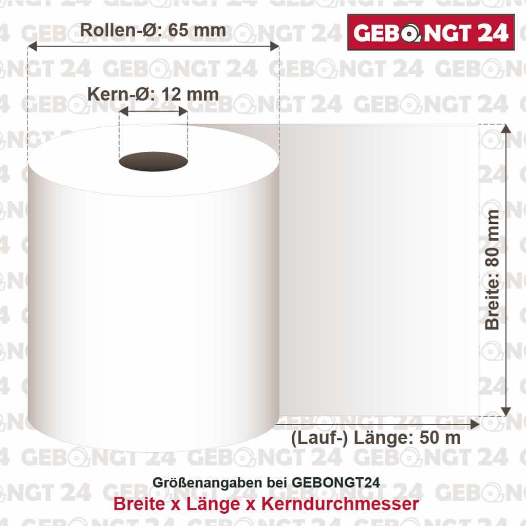 50 Thermorollen 80mm x 40m x 12mm Bon Rollen Thermopapier 80//40//12 /Ø 58mm
