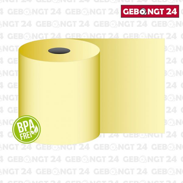 Thermorolle 58 mm x 50 m x 12 mm, gelb, BPA frei