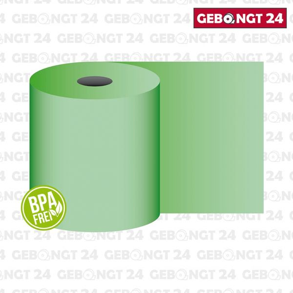 Thermorolle 62 mm x 50 m x 12 mm, grün, BPA frei