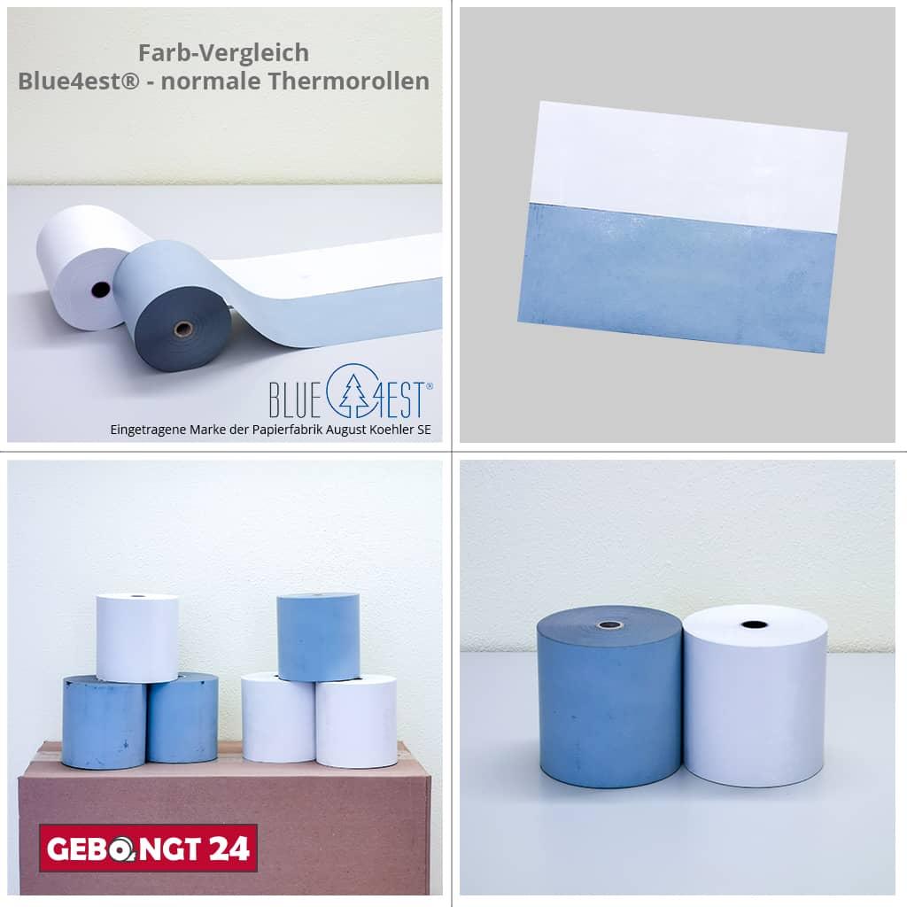 Farbvergleich Blue4est - normale Thermorollen