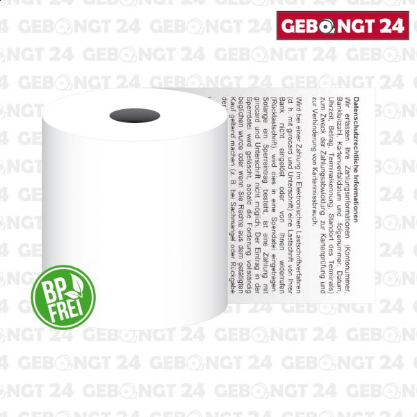 Thermorolle 57mm mit neutralem Sepa Lastschrifttext ǀ BP frei