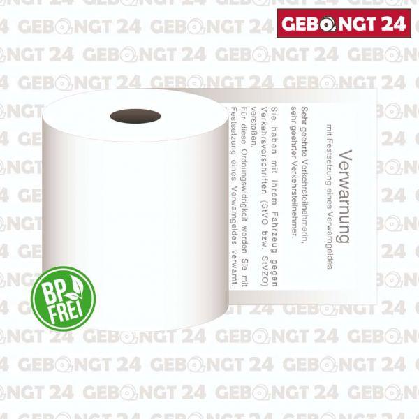 """Thermorolle 57mm x 10m x 8mm, Durchmesser 31mm - für Ordnungsämter mit Text """"Verwarnung"""""""