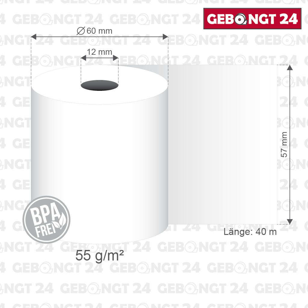 25 Thermorollen 57 mm x 60 mm x 40 m x 12 mm
