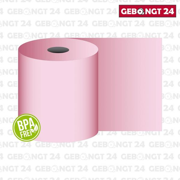 Thermorolle 62 mm x 50 m x 12 mm, rosa, BPA frei