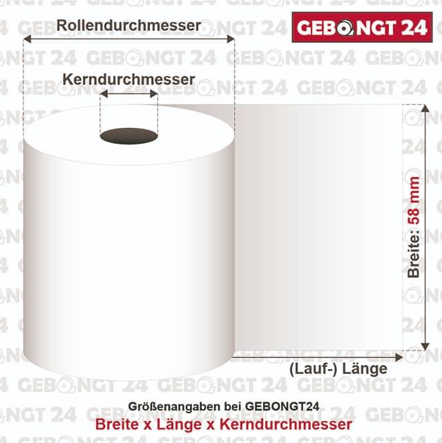 Infografik: Maße von Thermorollen 58 mm