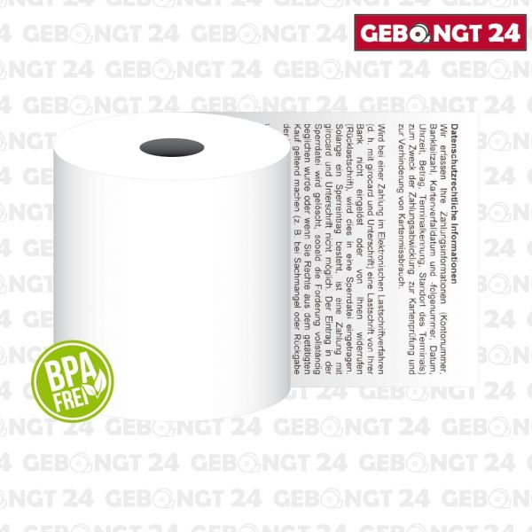 Thermorolle 57 x 80 I Thermopapier BPA frei I Sepa Lastschrifttext