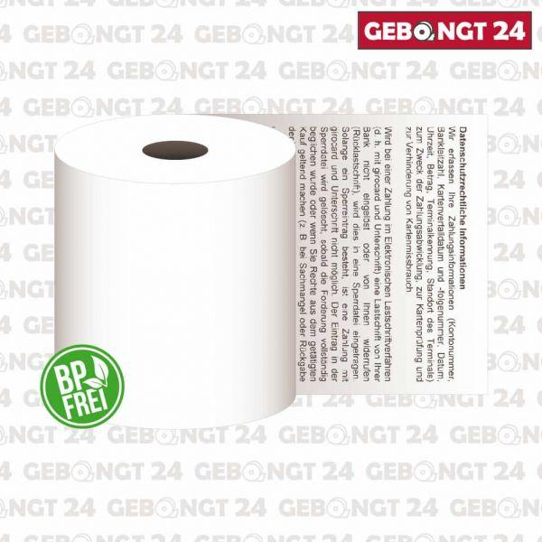 Thermorolle 57 x 10m x 12 mit SEPA Lastschrifttext, Phenolfrei (BP frei)