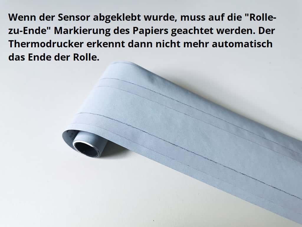 """Nach Abkleben des Sensors bitte die """"Rolle-Zu-Ende"""" Markierung beachten"""